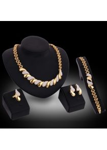 A Suit of Chic Rhinestoned Necklace Earrings Ring and Bracelet For Women