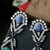 Pair of Retro Faux Crystal Hollow Out Floral Earrings For Women deal