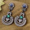 Pair of Retro Faux Crystal Hollow Out Floral Earrings
