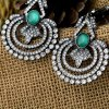Pair of Retro Faux Crystal Hollow Out Floral Earrings for sale
