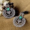 cheap Pair of Retro Faux Crystal Hollow Out Floral Earrings For Women