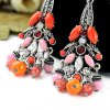 Pair of Retro Faux Crystal Rhinestone Round Bead Tassel Earrings For Women for sale