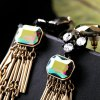 Pair of Graceful Rhinestone Faux Crystal Bar Drop Earrings For Women photo