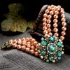best Graceful Faux Gemstone Artificial Pearl Hollow Out Bracelet For Women