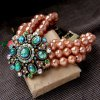 Graceful Faux Gemstone Artificial Pearl Hollow Out Bracelet For Women photo