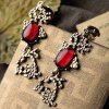 Pair of Retro Faux Ruby Water Drop Earrings For Women deal