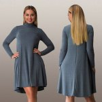 cheap Women Casual Stand Collar Solid Color Long Sleeve Pleated Mini Dress