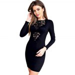 cheap Elegant Jewel Collar Long Sleeve Lace Work Pure Color Bodycon Women Midi Dress