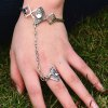 Vintage Exaggerated Square Hollow Out Conjoined Ring Cuff Bracelet For Women