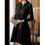 cheap Attractive Black V-Neck See-Through Cut Out High Waist Dress For Women