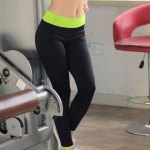 Women Slim Yoga Ninth Pants with Polyester + Nylon Fabric