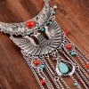 Vintage Phoenix Shape Hollow Out Coin Beads Pendant Necklace For Women deal