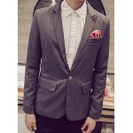 Buy Casual Lapel Stereo Patch Pocket Solid Color Long Sleeves Men's Single-Breasted Blazer L
