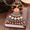 Blossom Fan Shape Rhinestone Hollow Out Pendant Necklace deal