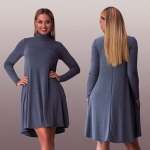 Women Casual Stand Collar Solid Color Long Sleeve Pleated Mini Dress deal