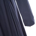 Women Casual Stand Collar Solid Color Long Sleeve Pleated Mini Dress photo