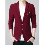 Buy Laconic Lapel Stereo Patch Pocket Zipper Cuffs Solid Color Long Sleeves Men's Slim Fit Blazer 3XL