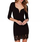 Sexy Sweetheart Neck Long Sleeve Pure Color Lace Spliced Women Mini Dress