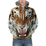 cheap Hot Sale Drawstring Hooded Front Pocket Cool 3D Tiger Print Long Sleeves Men's Loose Fit Hoodie