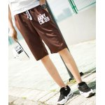 Buy Sports Straight Leg Letters Print Patch Pocket Lace-Up Men's Shorts L