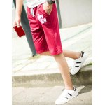 Buy Sports Straight Leg Letters Print Patch Pocket Lace-Up Men's Shorts M