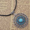 Rhinestone Faux Turquoise Hollow Out Necklace deal