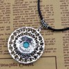 Bohemian Style Rhinestone Faux Turquoise Oval Hollow Out Necklace For Women for sale