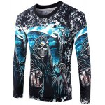 Casual Pullover Round Collar Skeleton 3D Printing Long Sleeve Sweatshirt For Men