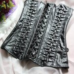 Chic Strapless Lace Up Faux Leather Women's Corset deal