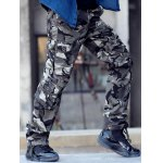 Buy Vogue Loose Fit Multi-Pocket Straight Leg Zipper Fly Men's Thicken Camo Cargo Pants 36 LIGHT GREEN