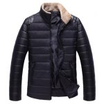 Buy PU-Leather Spliced Zipper Pocket Fur Collar Long Sleeves Men's Thicken Padded Coat M
