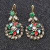 Pair of Vintage Rhinestone Floral Leaf Hollow Out Earrings For Women for sale