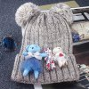 Buy Chic Lace Cartoon Bear Toy Embellished Knitted Beanie Women BEIGE