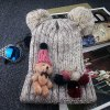Buy Chic Cartoon Bear Toy Bow Small Pompon Embellished Knitted Beanie Women BEIGE