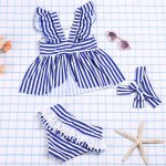cheap Cute Square Neck Striped Color Block Top + Flounced Briefs Girl's Two Piece Swimsuit
