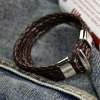 cheap Trendy Layered Faux Leather Chain Hand Knitting Bracelet For Men