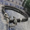 cheap Faddish Anchor Faux Leather Chain Skull Bracelet For Men