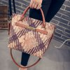 cheap Simple Weaving and Color Block Design Women's Tote Bag