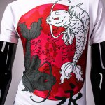 best 3D Chinese Character Fish Print Hit Color Round Neck Short Sleeves Men's Slim Fit T-Shirt