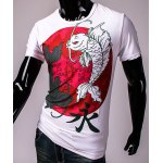 3D Chinese Character Fish Print Hit Color Round Neck Short Sleeves Men's Slim Fit T-Shirt deal