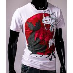 cheap 3D Chinese Character Fish Print Hit Color Round Neck Short Sleeves Men's Slim Fit T-Shirt