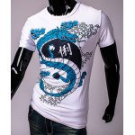 Hot Sale Round Neck 3D Chinese Character and Dragon Print Short Sleeves Men's Slim Fit T-Shirt deal
