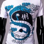 best Hot Sale Round Neck 3D Chinese Character and Dragon Print Short Sleeves Men's Slim Fit T-Shirt