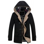 PU Leather Spliced Stereo Pocket Horn Button Hooded Long Sleeves Men's Cashmere Blend Coat