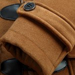 best PU Leather Spliced Stereo Pocket Horn Button Hooded Long Sleeves Men's Cashmere Blend Coat
