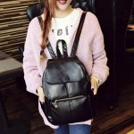 cheap Vintage Style PU Leather and Black Design Women's Backpack