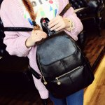 Vintage Style PU Leather and Black Design Women's Backpack deal