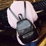 Vintage Style PU Leather and Black Design Women's Backpack for sale