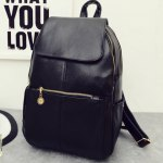Vintage Style PU Leather and Black Design Women's Backpack photo