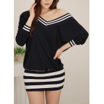 Stylish Striped V-Neck Long Sleeve Dress For Women